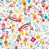 Het gelukkige patroon van de de jonge geitjespartij van de Verjaardag Stock Fotografie