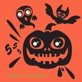 Het gelukkige Pictogram van Halloween Vector illustratie Stock Fotografie