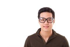 Het gelukkige, positieve, slimme genie nerd of geek bemant met glazen, tekst of exemplaarruimte Stock Afbeelding