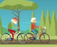 Het gelukkige rijpe paar gaande biking samen op een plattelands plattelandsgebied stock illustratie