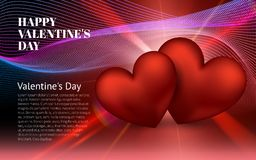 Het gelukkige Rode Hart van de Valentijnskaartendag 14 februari Globale liefdedag Stock Fotografie