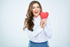 Het gelukkige rode hart van de vrouwengreep Mooie vrouwen Mooi vrouwelijk m Stock Afbeelding