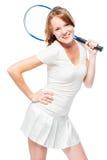 Het gelukkige slanke portret van de tennisspeler op wit Stock Afbeeldingen