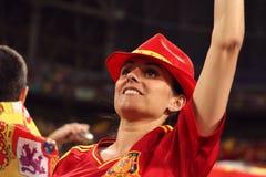 Het gelukkige Spaanse Meisje van de Ventilator Stock Afbeeldingen