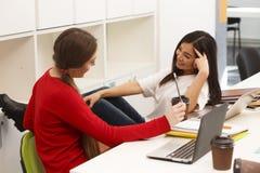 Het gelukkige studenten communiceren stock fotografie