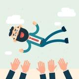 Het gelukkige Succes van Bedrijfsmensenteam hands throw boss up Stock Foto's
