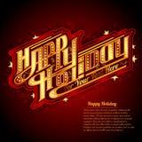 Het gelukkige Vakantie van letters voorzien met de Amerikaanse retro stijl van het neonoverzicht Royalty-vrije Stock Foto
