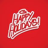 Het gelukkige vakantieetiket van letters voorzien Stock Fotografie