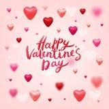 Het gelukkige Valentijnskaartendag Vector Van letters voorzien Stock Foto's