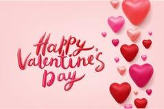 Het gelukkige Valentijnskaartendag Vector Van letters voorzien Royalty-vrije Stock Fotografie