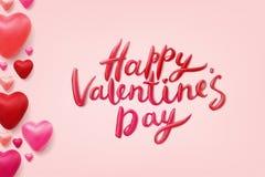 Het gelukkige Valentijnskaartendag Vector Van letters voorzien Royalty-vrije Stock Afbeelding