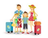 Het gelukkige van de de vakantiereis van de familiezomer vlakke art. royalty-vrije illustratie