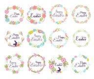 Het gelukkige van de het kentekenhand van Pasen hand getrokken element van de de groetdecoratie van letters voorziende en de natu Stock Foto