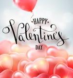 Het gelukkige van de de tekstgroet van de valentijnskaartendag vector met de hand geschreven ontwerp van de de kaartkaart met 3d  Stock Afbeelding