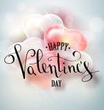 Het gelukkige van de de tekstgroet van de valentijnskaartendag vector met de hand geschreven ontwerp van de de kaartkaart met 3d  Stock Fotografie