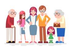 Het gelukkige van het de Liefde samen Kind van Familiekarakters van het de Tiener Volwassen Oude Pictogram Vlakke Ontwerp Royalty-vrije Stock Foto's