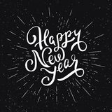 Het gelukkige van letters voorzien van het Nieuwjaar Het Ontwerp van de groetkaart Royalty-vrije Stock Foto's