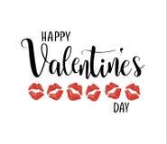 Het gelukkige vector de kalligrafie van de valentijnskaart` s dag van letters voorzien Kussende lippen stock illustratie