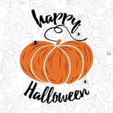 Het gelukkige vector van letters voorzien van Halloween Vakantiekalligrafie met spinneweb en pompoen Royalty-vrije Stock Afbeelding