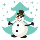 Het gelukkige vectorpictogram van het sneeuwmanbeeldverhaal Stock Afbeeldingen