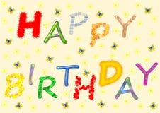 Het gelukkige Verjaardag van letters voorzien in divers patroon Stock Foto's
