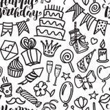 Het gelukkige verjaardag van letters voorzien en krabbel naadloos patroon Stock Afbeeldingen