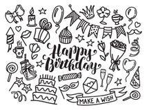 Het gelukkige verjaardag van letters voorzien en krabbelreeks Stock Fotografie