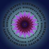 Het gelukkige verjaardag van letters voorzien en lilac bloem Stock Afbeeldingen