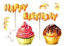 Het gelukkige Verjaardag van letters voorzien op een stok, een cake en een brownie Waterverfhand getrokken die illustratie, op wi Stock Fotografie