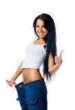 Het gelukkige verlies van het vrouwen aantonende gewicht Royalty-vrije Stock Fotografie
