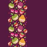Het gelukkige verticale naadloze patroon van fruitkarakters Royalty-vrije Stock Fotografie