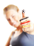 Het gelukkige voetbalventilator gesturing Royalty-vrije Stock Afbeelding