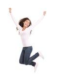 Het gelukkige vrouw geïsoleerd springen Stock Fotografie