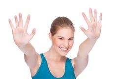 Het gelukkige vrouw gesturing Stock Foto's