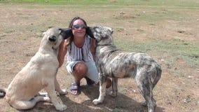 Het gelukkige vrouw spelen met twee reusachtige honden stock footage