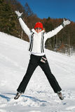 Het gelukkige vrouw springen Royalty-vrije Stock Afbeeldingen
