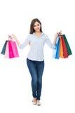 Het gelukkige vrouw winkelen stock foto