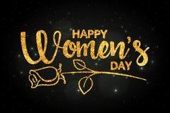 Het gelukkige Vrouwen` s Dag gouden met de hand geschreven van letters voorzien Royalty-vrije Stock Afbeelding