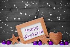 Het Gelukkige Weekend van Gray Purple Christmas Decoration Text, Sneeuwvlokken Stock Foto