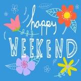 Het gelukkige weekendwoord van letters voorzien en mooie bloem Stock Afbeeldingen
