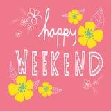 Het gelukkige weekendwoord van letters voorzien en mooie bloem Royalty-vrije Stock Foto
