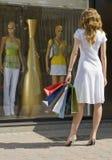 Het gelukkige winkelen Stock Afbeelding