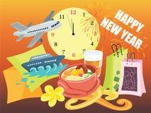 Het gelukkige Winkelen en de Pret die van de Nieuwjaarvakantie Vectorillustratie begroeten Royalty-vrije Stock Fotografie