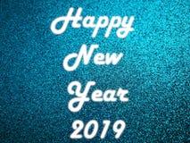 Het gelukkige Witte licht van het Nieuwjaar 2019 Neon royalty-vrije stock afbeelding