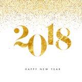 Het gelukkige witte het ontwerpmalplaatje van de Nieuwjaar 2018 gouden kaart en het goud schitteren achtergrond Stock Foto