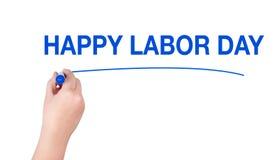 Het gelukkige woord van de arbeidsdag schrijft op witte achtergrond Stock Afbeelding