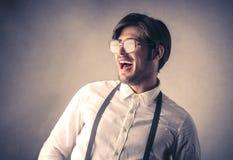 Het gelukkige zakenman lachen stock fotografie