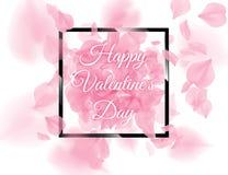 Het gelukkige zwarte vierkante kader van de Valentijnskaartendag met roze sacurabloemblaadjes die op witte achtergrond vallen Vec vector illustratie