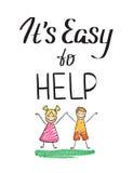 Het is gemakkelijk om liefdadigheidscitaat met gelukkige jonge geitjes te helpen Stock Afbeelding