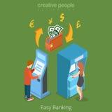 Het gemakkelijke 3d concept bank van de bedrijfsfinanciëngeldstroom stock illustratie